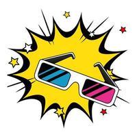 Brillenzubehör der neunziger Jahre in der Explosions-Pop-Art vektor