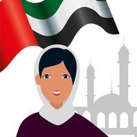 islamisk kvinna med traditionell burka och arabisk flagga i moskén