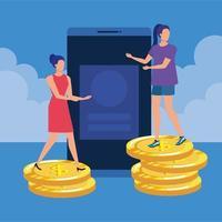 unga kvinnor med smartphone och pengar