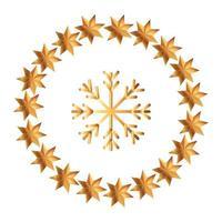 Schneeflocke Weihnachten mit Rahmen kreisförmig von Sternen vektor