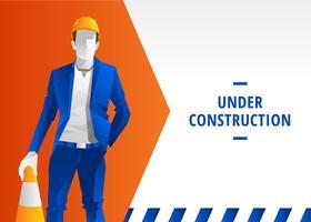 Website im Bau-Warnungs-Vektor