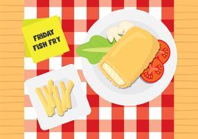 Gebratener Fisch und Pommes frites vektor