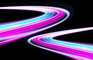 futuristisk neonsimulering av natttrafik lång exponering vektor