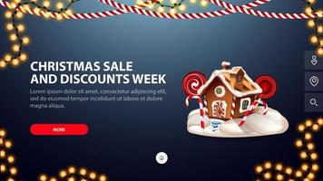 Weihnachtsverkauf und Rabattwoche, blaues Banner mit Knopf, Girlanden und Weihnachtslebkuchenhaus für Website vektor