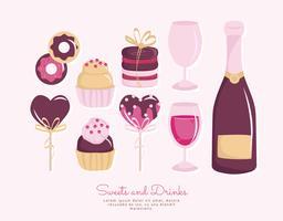 Vektor Süßigkeiten und Champagner