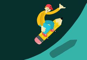 Bleistift Skateboard Kind vektor