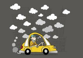 Typ in einem Taxi vektor