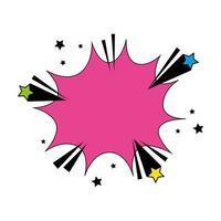 explosion rosa färg med stjärnor popkonst stilikon vektor