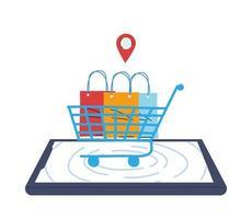Kauf im virtuellen Laden mit Kartenzahlung vektor