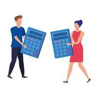 ungt par med miniräknare