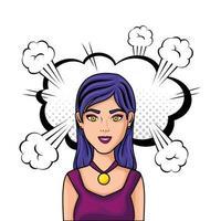 junge Frau mit Wolkenart-Pop-Art vektor