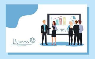 Geschäftsleute treffen sich mit Infografiken Präsentation vektor