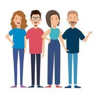 Gruppe junger Menschen Charaktere vektor
