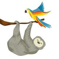 Bärenfaultier hängen von Zweig mit Papagei vektor