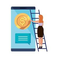 kvinna och smartphone med mynt