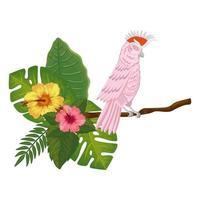 Papagei rosa im Zweig mit Blüten und Blättern vektor