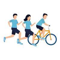 Männer und Frau mit Fahrradvektorentwurf