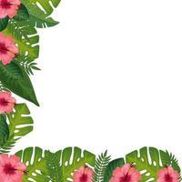Dekoration von Blumen mit Blättern lokalisierte Ikone vektor