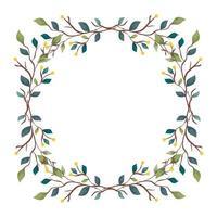 Rahmen von Zweigen mit Blättern Natur dekorativ vektor