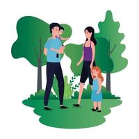 föräldrar par med dotter och son på parken
