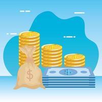 Münzen Geld Dollar mit Rechnungen und Tasche