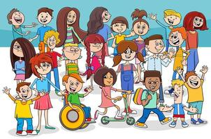 barn och tonåringar seriefigurer grupp vektor