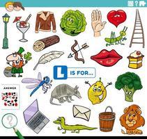 bokstaven l ord pedagogisk uppgift för barn vektor