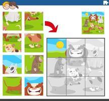 pusselspel med hundens djurkaraktärer