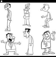 Schwarzweiss-Zeichentrickfilmmann-Zeichensatz vektor