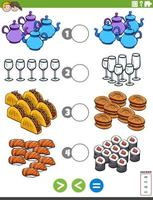 Größeres weniger oder gleiches Lernspiel mit Nahrungsmitteln vektor