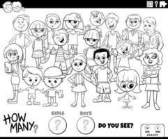 räknar flickor och pojkar pedagogiska spel färg bok sida vektor