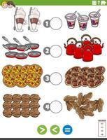 größere weniger oder gleiche Aufgabe mit Nahrungsmitteln vektor