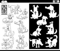 matchande former spel med hundens färgbok vektor