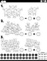 Subtraktion pädagogische Aufgabe mit Tieren Farbbuch Seite vektor