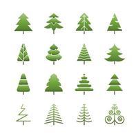Satz Weihnachtsbäume