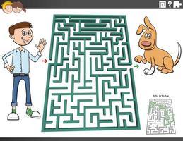 labyrint spel med tonåring pojke och hund vektor