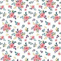 sömlösa mönster med akvarell blommigt tema vektor