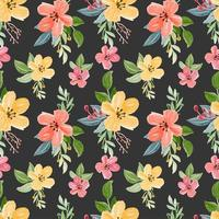 sömlösa mönster med blommig akvarell tema vektor