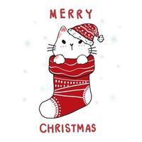 söt kartong doodle katt i jul röd strumpa, god jul vektor