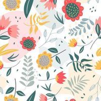 Blumenmuster mit flachem Stil im weißen Hintergrund vektor