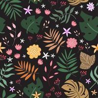 nahtloses Blumenmuster des Gartens mit balck Hintergrund vektor
