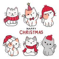 söt tecknad kattunge katt som glad jul vektor