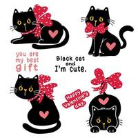 niedliches Valentinstagschwarzes Katzenkätzchen mit rotem Bandbogen-Feiertagsgeschenk-Sammlungssatz, Gekritzelillustrationsclipart vektor