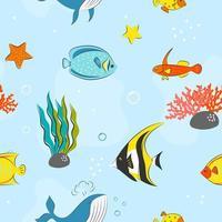 sömlösa mönster med undervattenskoncept vektor