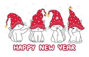 söt glad rolig vit fyra kattunge katt i röd jul hatt vektor