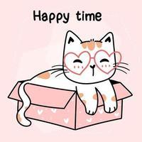 süße Katze mit Herzbrille