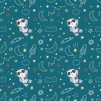 sömlösa mönster med panda i rymden vektor