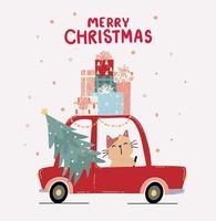 söt kattunge som kör en röd bil med julgranen vektor