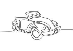 en enda linje ritning av gamla retro vintage bil. klassiskt transportfordonskoncept. tappningracingbil som kör på dammig väg. kontinuerlig linje rita design illustration vektor