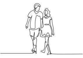 ein Linienpaar Händchen haltend. Romantik und Beziehungsthema. Vektorillustration für Valentinstagskarte, Fahne und Plakat. vektor